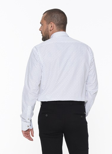 Beymen Business 4B2020200004 Beyaz-Koyu Lacivert Regular Fit Gömlek Baskılı Beyaz